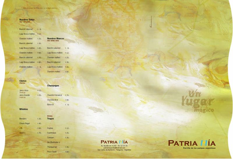 menu PATRIA MIA - Daniel Nieco